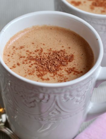 chocolate hazelnut milk in a white ceramic mug